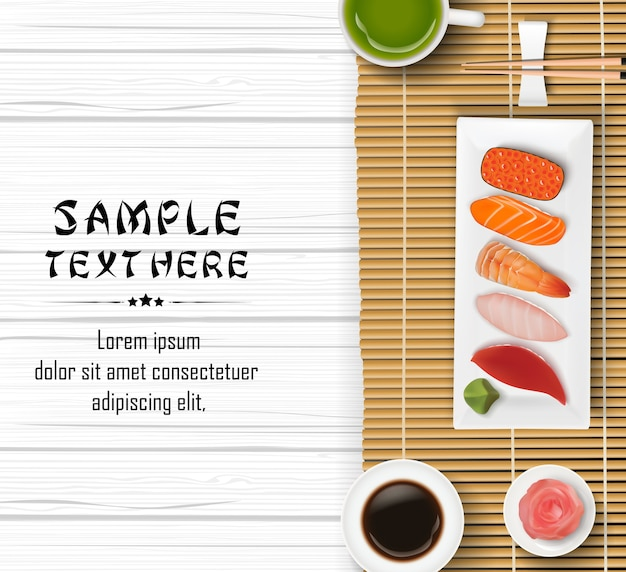 Realistic japanese sushi on wooden table background Premium Vector