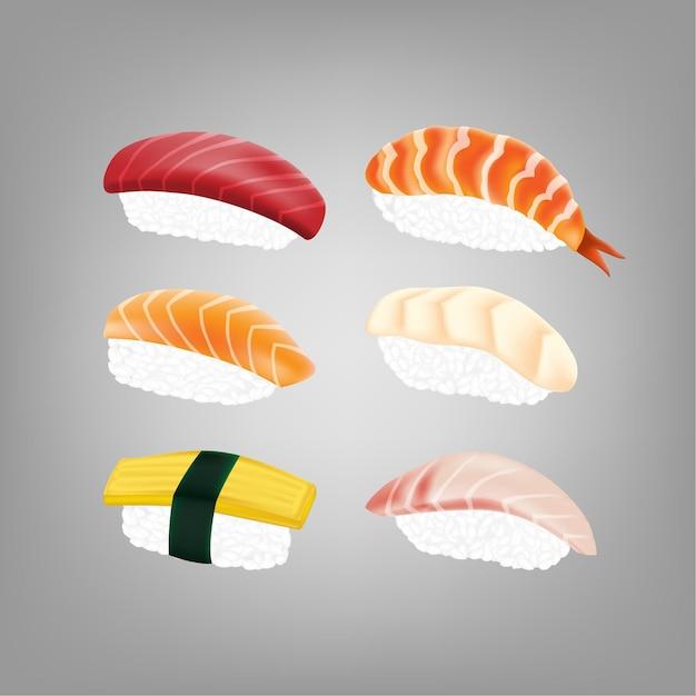 リアルな日本の寿司 Premiumベクター