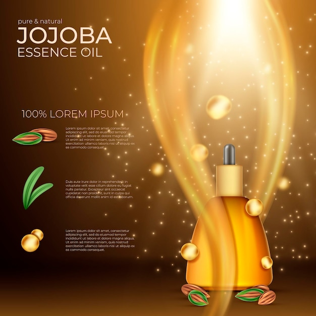 Realistic jojoba oil commercial Free Vector