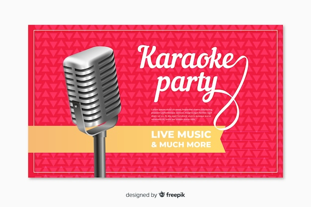 Realistic karaoke party banner template Free Vector