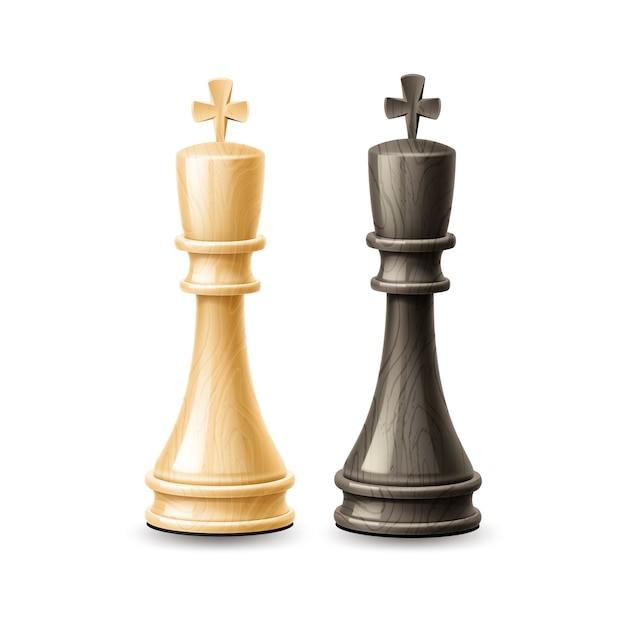 Realistic  king chess pieces black and white Premium Vector