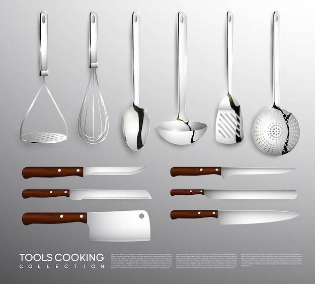 調理器具付きのリアルなキッチン機器コレクション 無料ベクター