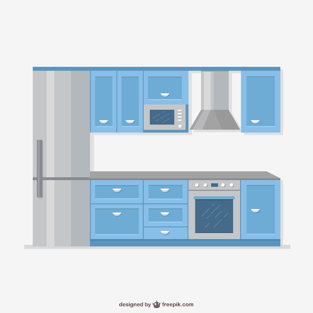 Cartoon Kitchen Furniture: Realistic Kitchen Furniture Vector