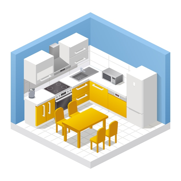 Realistic kitchen interior. isometric view of room, dining table, chairs, cabinets, stove, refrigerator, cooking appliances and home decor. modern furniture , apartment or house concept Premium Vector
