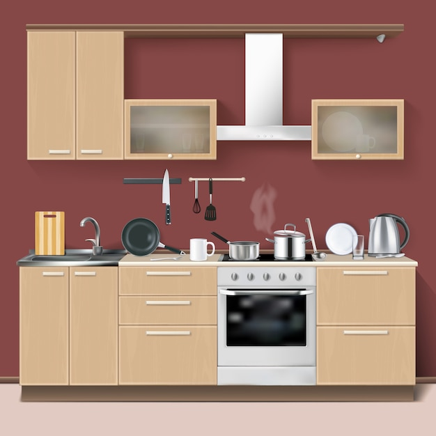 Realistic kitchen interior Free Vector