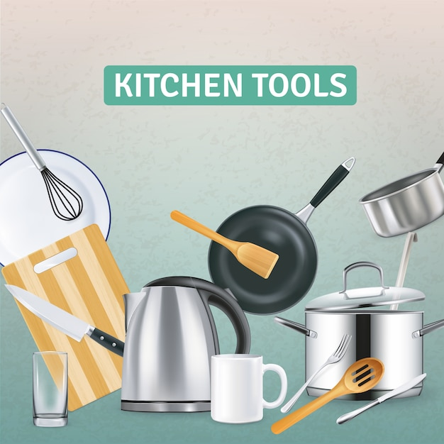 Realistic kitchen supplies with electric kettle and wooden tools on grey textured illustration Free Vector