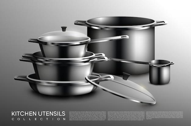 リアルなキッチン用品コレクション 無料ベクター