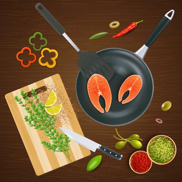 木製テクスチャイラストのサーモンスパイスと野菜のリアルなキッチンウェアトップビュー 無料ベクター