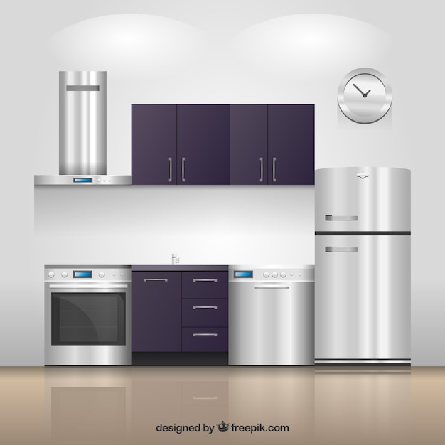 Realistic kitchen Free Vector
