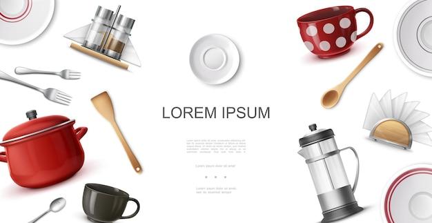 Реалистичная посуда красочный шаблон с кофейными чашками, тарелки, вилки, ложки, лопатка, чайник, кастрюля, подставка для салфеток, шейкер для соли и перца Бесплатные векторы