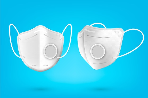 Realistic kn95 face mask in different perspectives Premium Vector