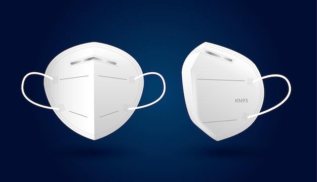 Maschera facciale kn95 realistica in diverse prospettive Vettore gratuito