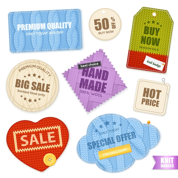 Realistic knitted badges labels collection Free Vector