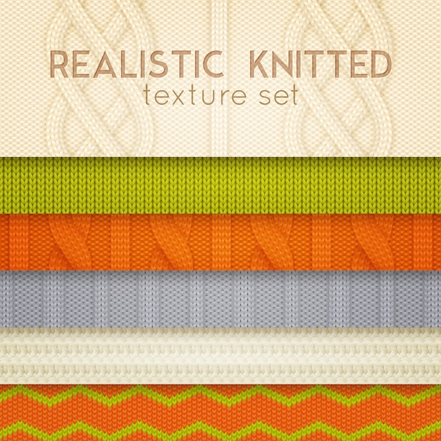 Realistic knitted patterns horizontal layers Free Vector