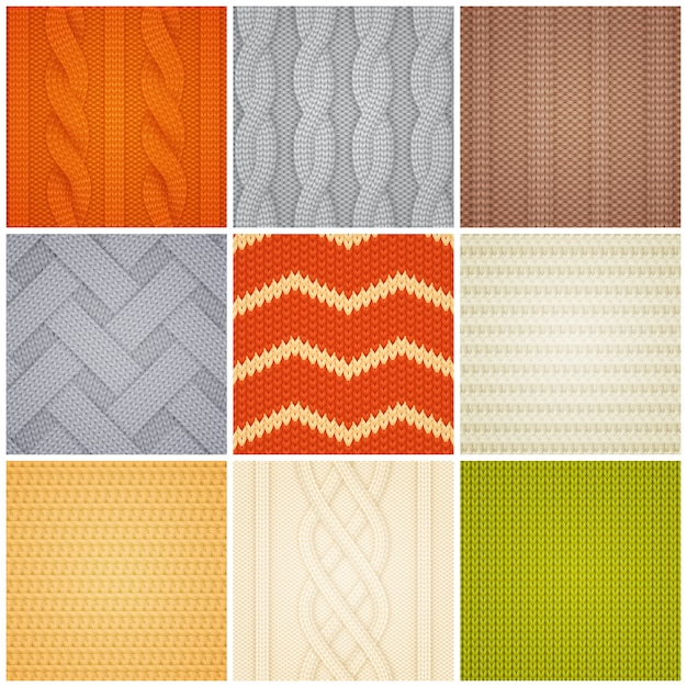 Realistic knitted patterns samples set Free Vector