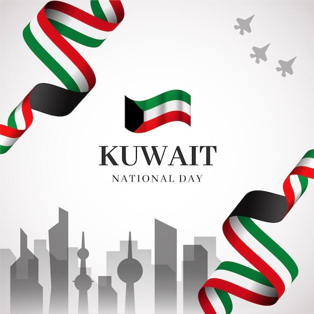 Giornata nazionale e città realistiche del kuwait Vettore gratuito