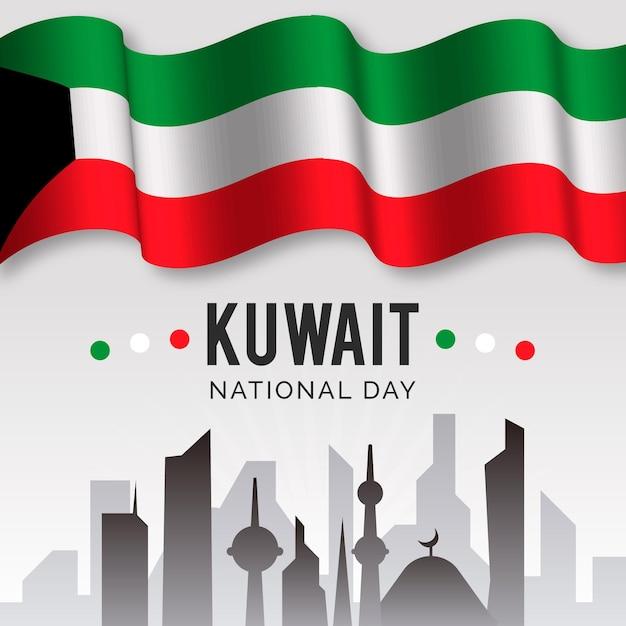 Реалистичный национальный день кувейта Бесплатные векторы