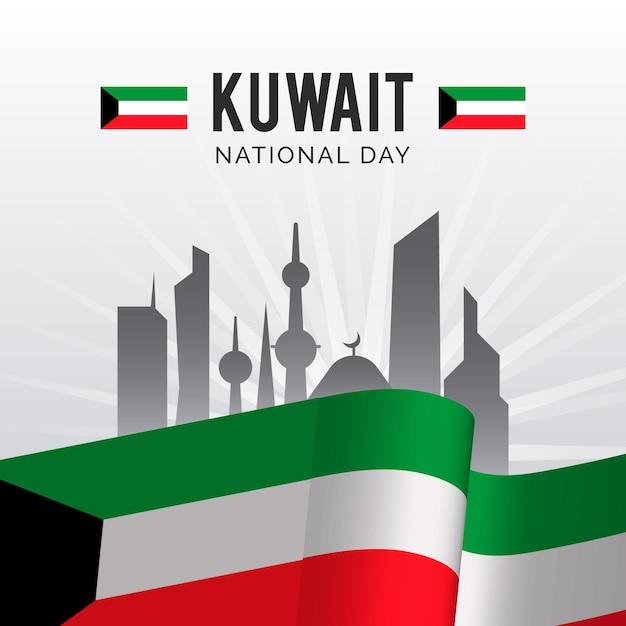 Giornata nazionale realistica del kuwait Vettore gratuito