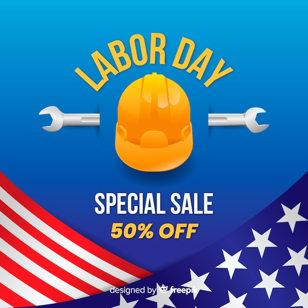 Realistic labor day sale background Free Vector