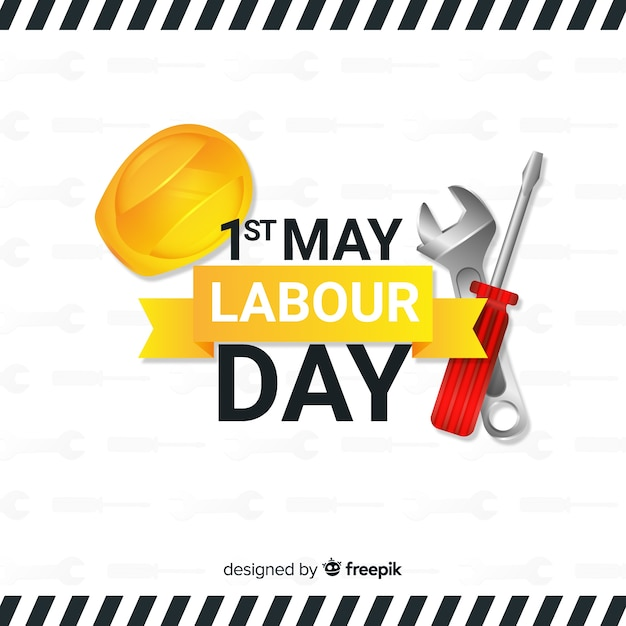 Realistic labour day background Free Vector