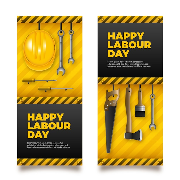 Realistic labour day banners Free Vector