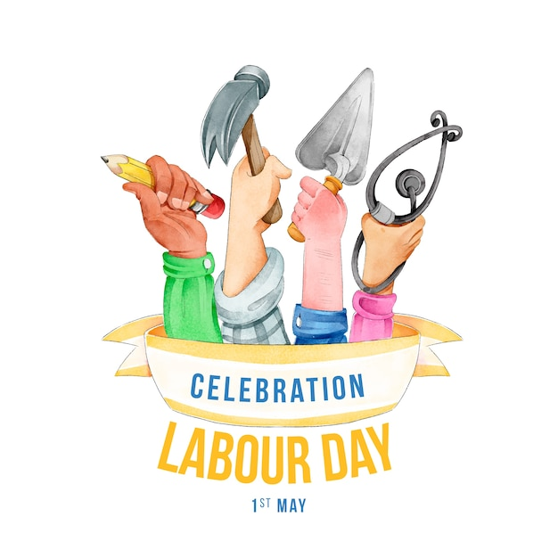 Realistic labour day design Free Vector