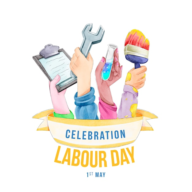 Realistic labour day theme Free Vector