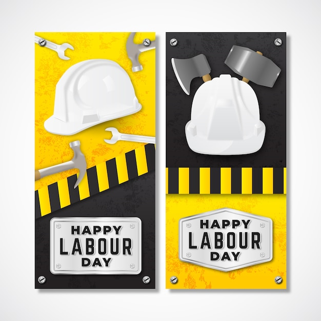 Realistic labour day with greeting Free Vector