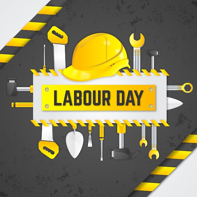 Realistic labour day with tools Free Vector