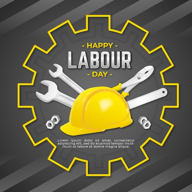 Realistic labour day Free Vector