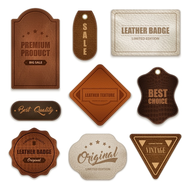 Realistic leather badges labels collection Free Vector