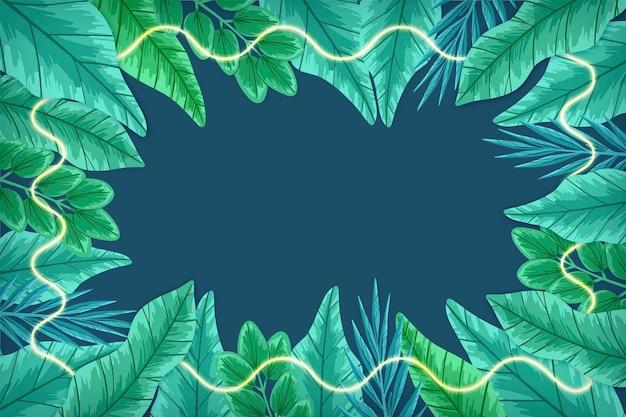 Реалистичные листья с зеленой неоновой рамкой Бесплатные векторы