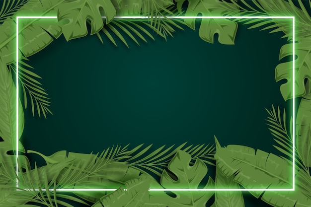 Realistic leaves with neon frame background concept Premium Vector