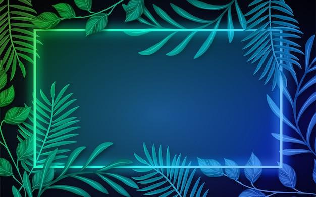 Реалистичные листья с неоновой рамкой Бесплатные векторы