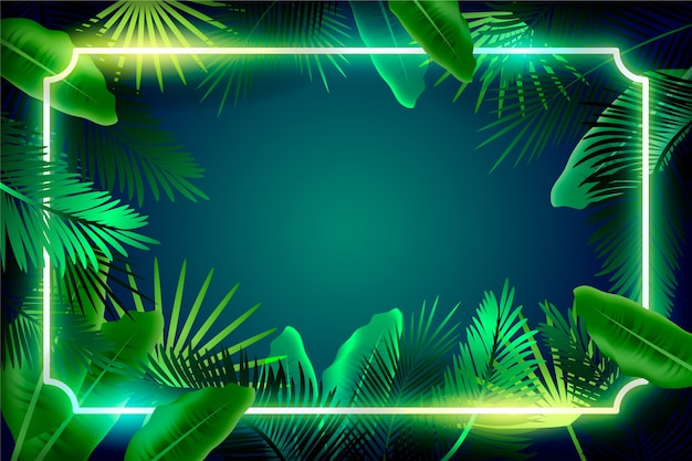 Free Vector Realistic Leaves With Neon Frame Wallpaper Style Photo tropical leaves pattern neon colored. realistic leaves with neon frame