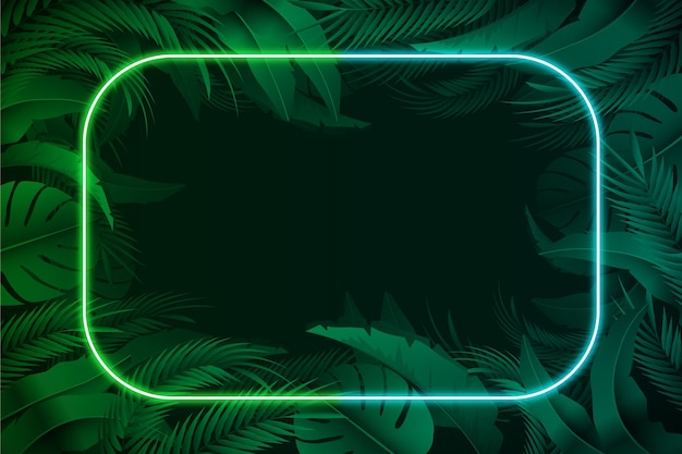 Realistic leaves with neon frame Free Vector