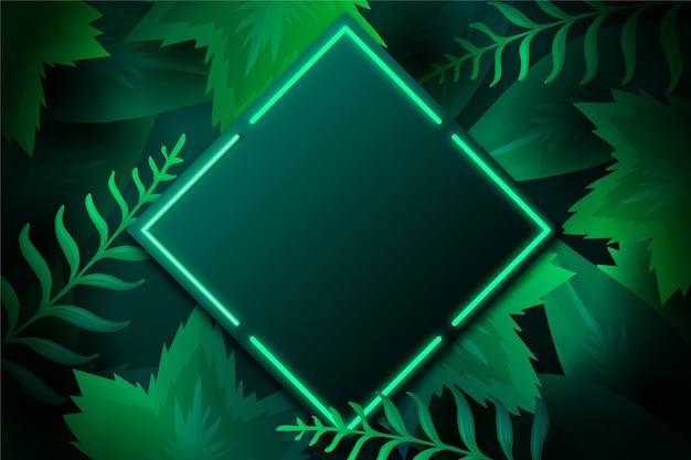 Реалистичные листья с неоновой рамкой Premium векторы
