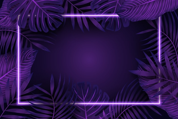 Realistic leaves with purple neon frame Premium Vector