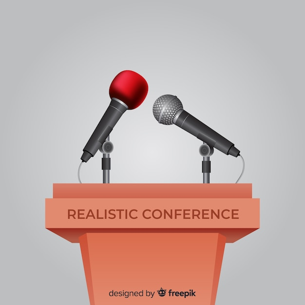 Realistic lectern conference with microphone Free Vector