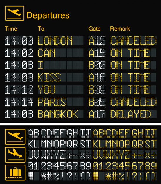 Realistic led digital board airport yellow font Premium Vector