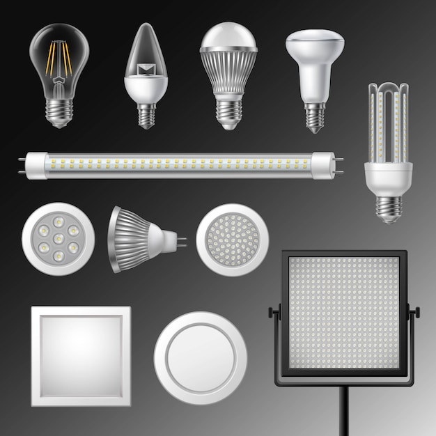 Realistic led lamps set Free Vector