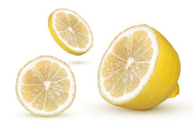 白い背景の上の現実的なレモン。新鮮な黄色の果物、イラスト Premiumベクター