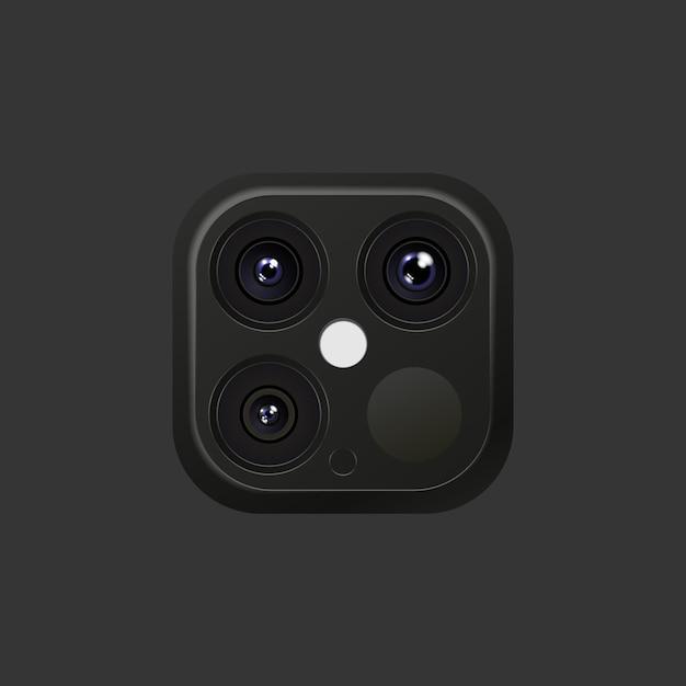 스마트 폰 또는 플래시가있는 기타 장치의 사실적인 렌즈 카메라 블랙 및 실버 색상 프리미엄 벡터