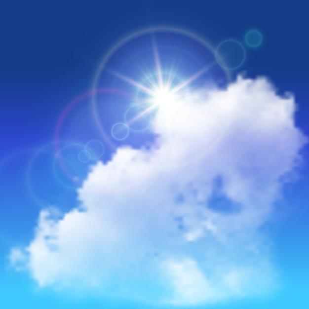 Реалистичные блики солнечного света над белым большим облаком на голубом небе Бесплатные векторы
