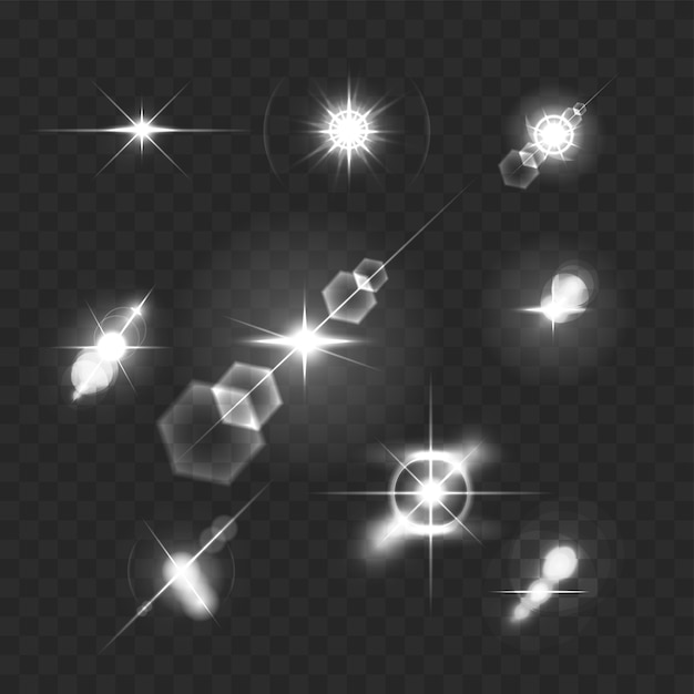 현실적인 렌즈 플레어 별 조명 및 투명 그림에 흰색 요소 광선 무료 벡터