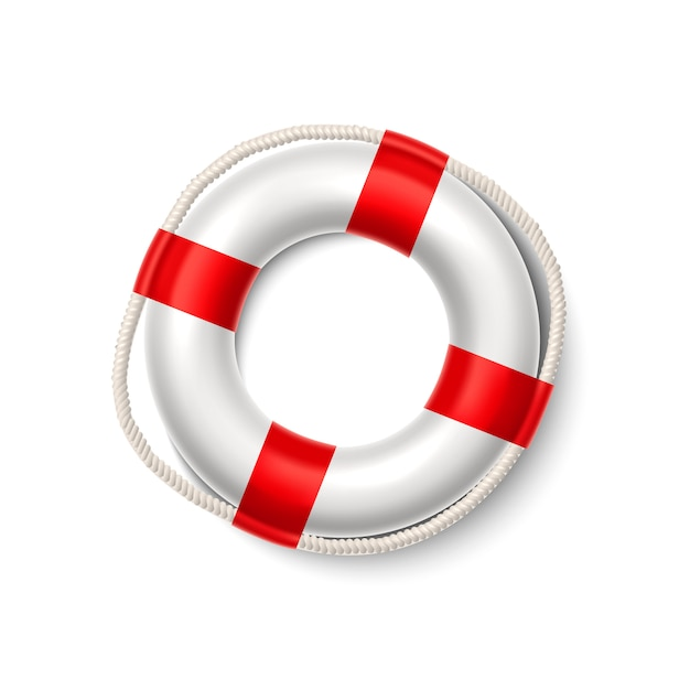 Realistic life buoy safety ring lifeguard rescuer Premium Vector