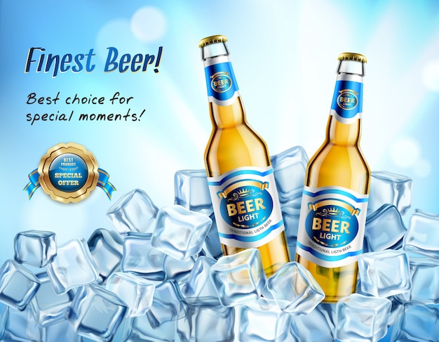 Realistic light beer ad poster Free Vector