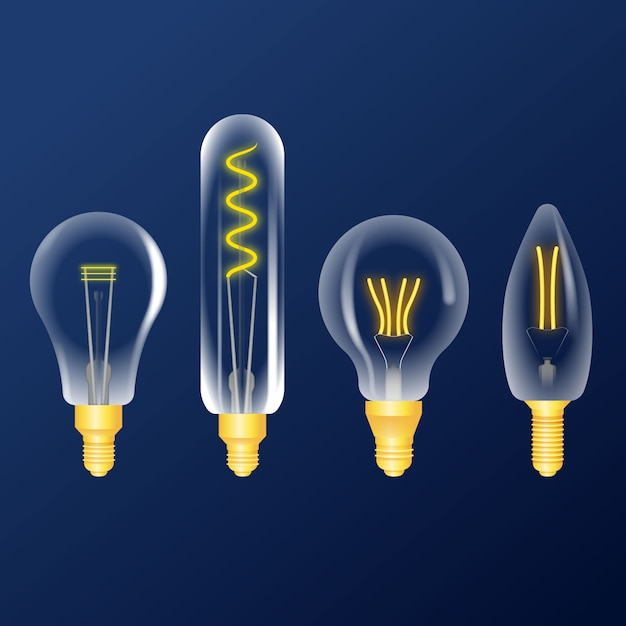 Realistic light bulbs collection Free Vector