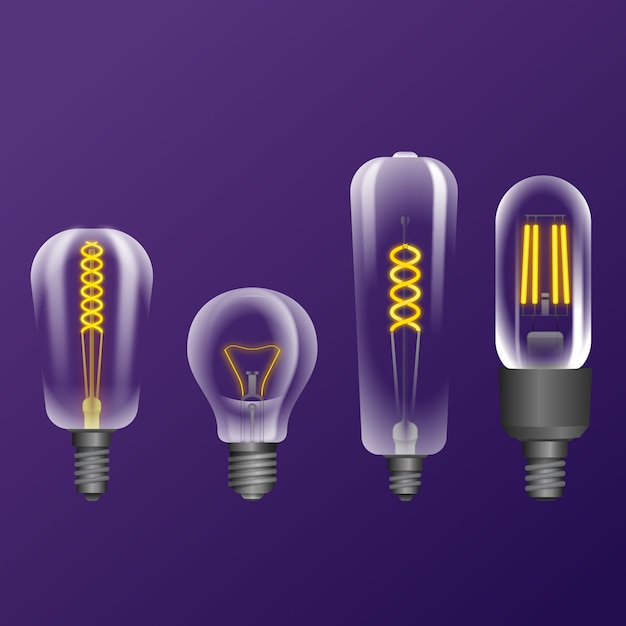 Realistic light bulbs with filament Free Vector