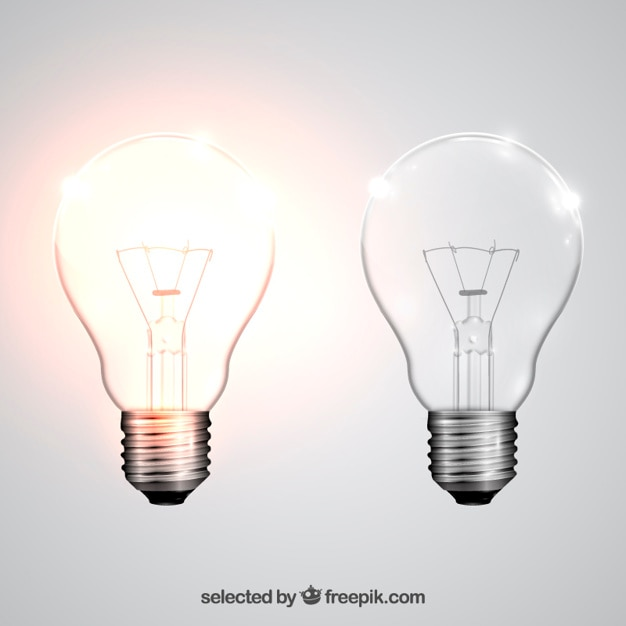 Plant with lightbulb cartoon Vector Free Download